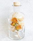Glazen fles, droogbloemen div. kleuropties_