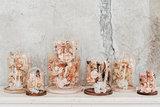Glazen stolp 40cm, droogbloemen div. kleuropties_