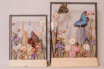 Glazen lijst L, droogbloemen div. kleuropties