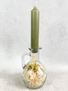 Glazen fles, droogbloemen div. kleuropties met kaars